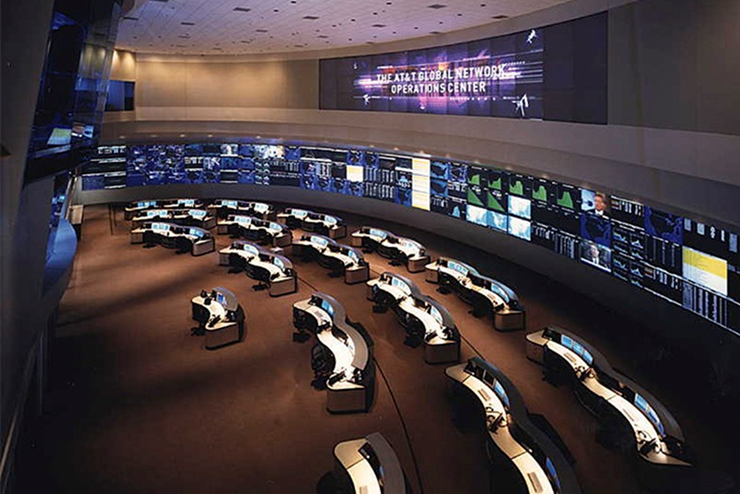 Figure 1 AT&T's Global Network Operations Center. Source: https://www.turnerconstruction.com/experience/project/653E/att-network-operations-center